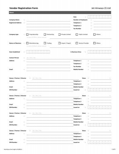 Etihad Airways Vendor Registration Form