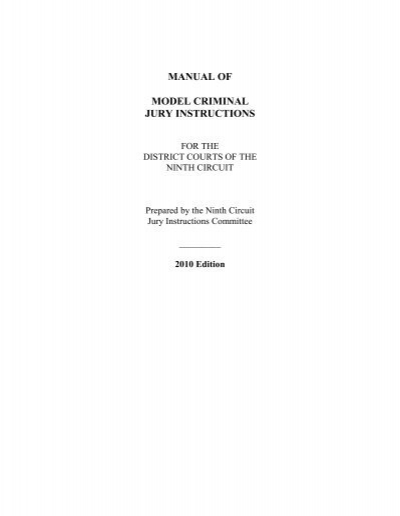 9th Circuit Manual Of Model Criminal Jury Instructions