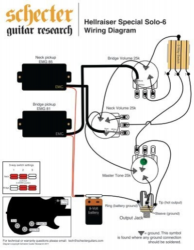 emg 3 pickup wiring diagram hellraiser special solo 6 wiring diagram - schecter guitars epiphone les paul 3 pickup wiring diagram