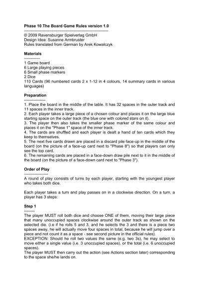Phase The Board Game Rules Version - Board game design document