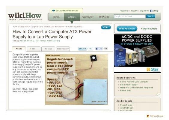 How to Convert a Computer ATX Power Supply to a Lab Power ...