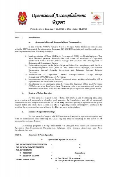 December 2010 Accomplishment Report - CIDG - Philippine