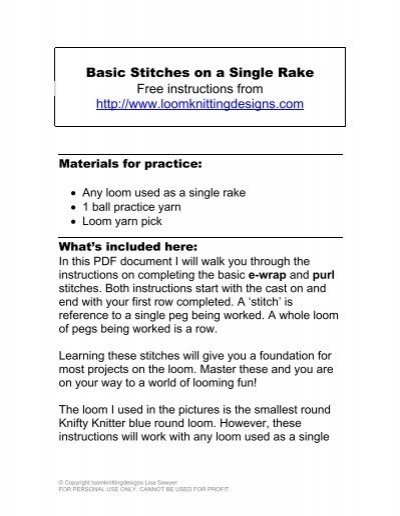 Basic Stitches On A Single Rake Free Instructions Loom Knitting