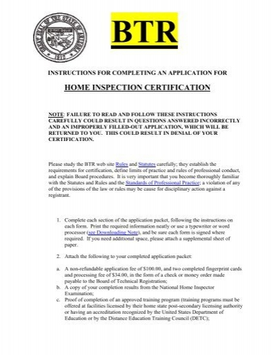 Home Inspection Certification - Arizona Board of Technical ...