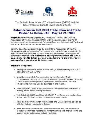 Automechanika Gulf 2003 Trade Show and Trade Mission to