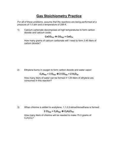 Day 005- Stoichiometry Worksheet 1 blank