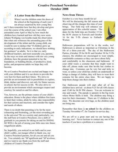 Creative Preschool Newsletter October 2008 Creative Preschool Inc