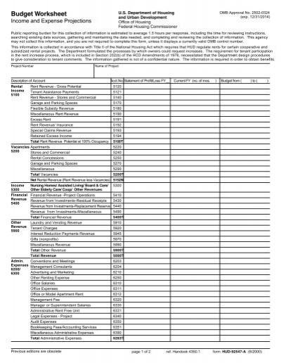 Pictures Hud Budget Worksheet - Studioxcess
