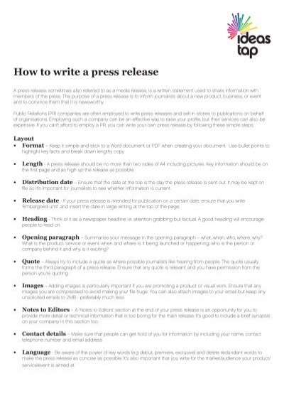 Template embargoed until for How to write a press release for an event template