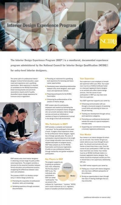 Idep ncidq national council for interior design - Interior decorator qualifications ...