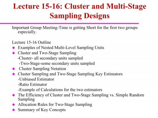 St 432 Lecture 15 16 Cluster And Two Stage Sampling