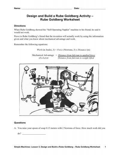 rube goldberg worksheet teach engineering. Black Bedroom Furniture Sets. Home Design Ideas
