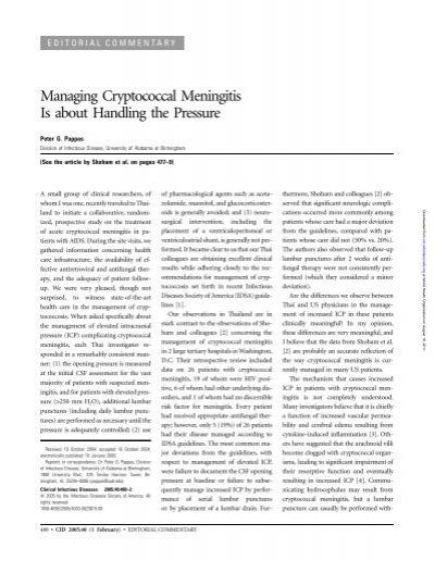 Cryptococcal meningitis pathophysiology pdf text