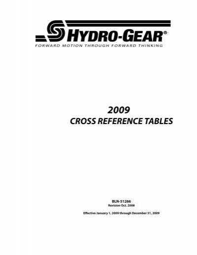 HYDRO-GEAR ® REFERENCE L