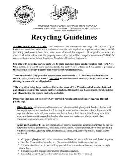 recycling guidelines city of lakewood ohio