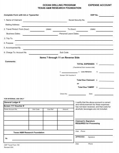 tamu expense reimbursement form odp legacy