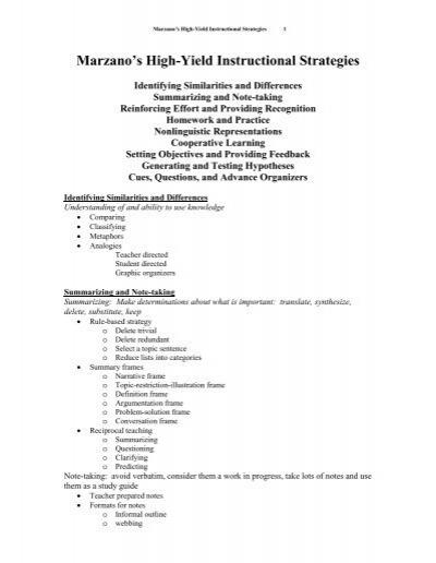 Marzanos High Yield Instructional Strategies Vernon Public Schools