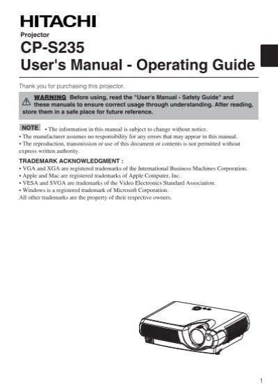 cp s235 user s manual operating guide hitachi america ltd rh yumpu com Acer Monitor I- Beam