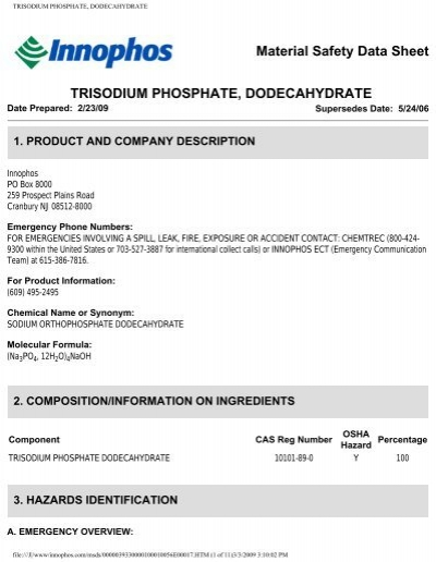 TRISODIUM PHOSPHATE, DODECAHYDRATE - Innophos