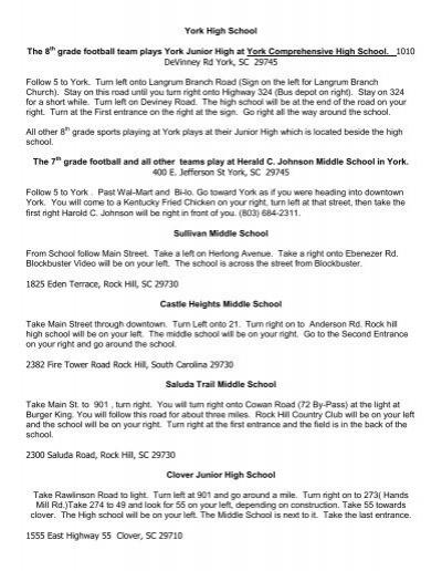 York High School The 8th grade football team plays York