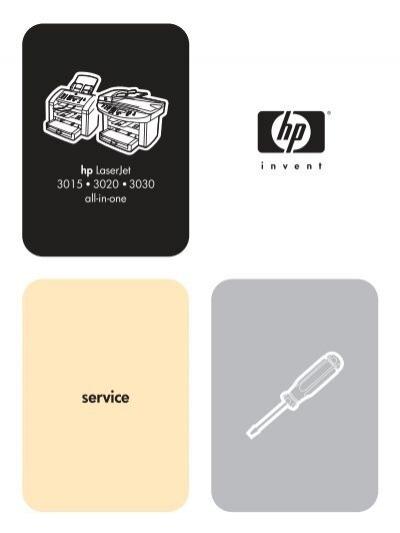 Hp Laserjet 301530203030 All In One Service Manual Market Point