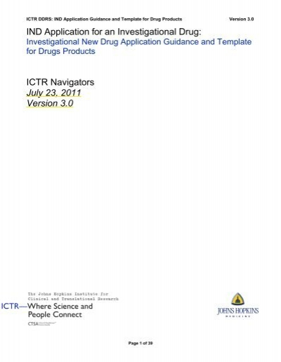 IND Application Guidance and Template for Drug Products