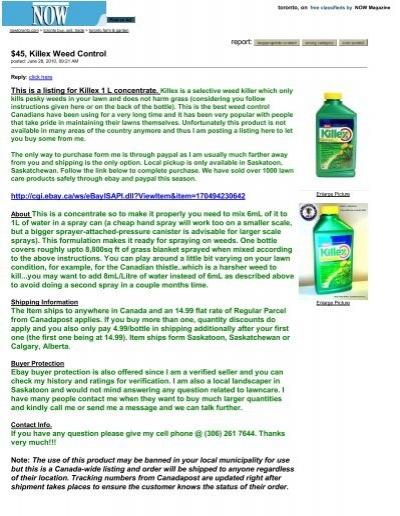 Killex Weed Control Toron Pesticide Truths