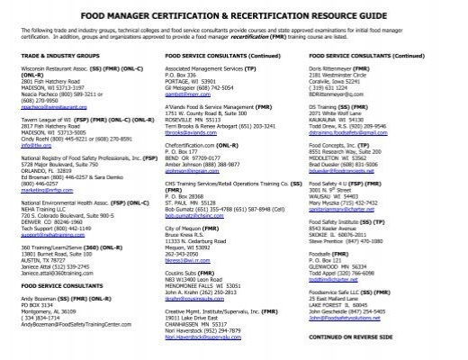 Food Service Manager Certification Wisconsin