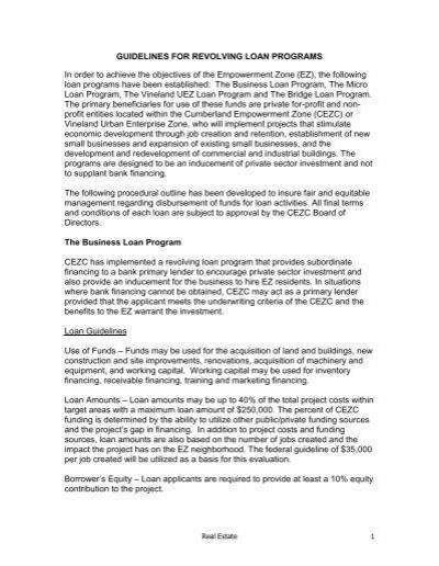 REVOLVING LOAN PROGRAMS - Cumberland Empowerment Zone