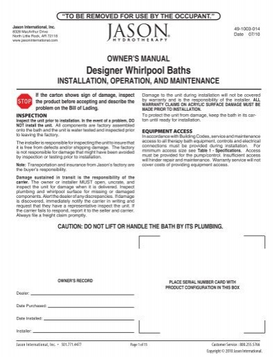OWNER\'S MANUAL Designer Whirlpool Baths ... - Jason International