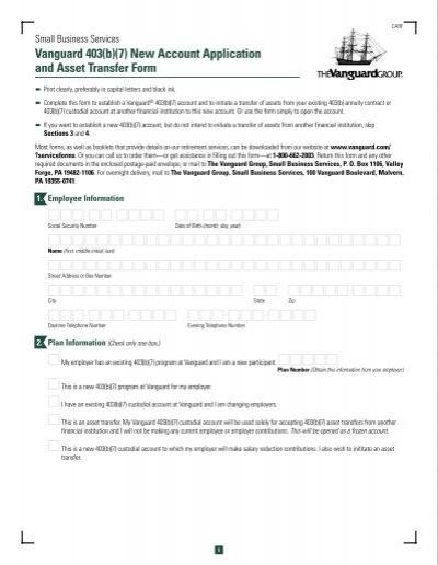 Vanguard 403(b)(7) Account Asset Transfer Authorization