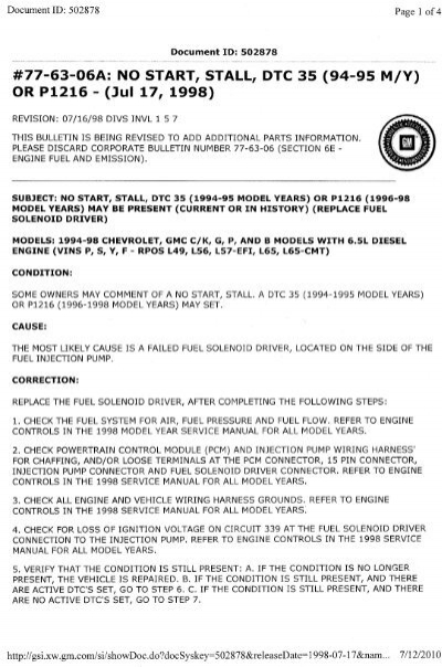 gm service bulletin 77-63-06a - Stanadyne PMD Failures