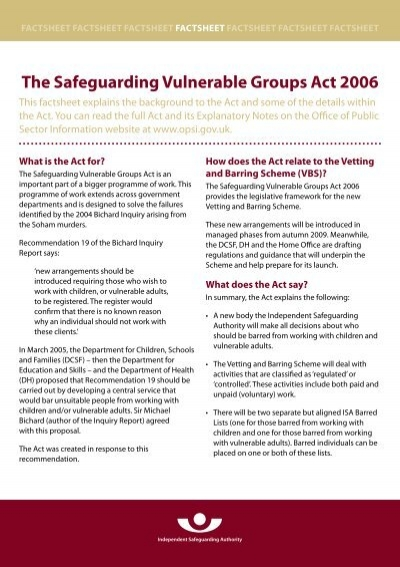 what is the legislative framework for safeguarding vulnerable adults