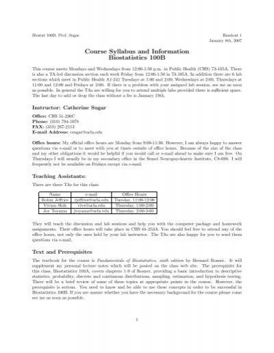 Course Syllabus And Information Biostatistics 100B UCLA