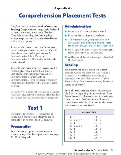 Corrective reading comprehension placement test fandeluxe Choice Image