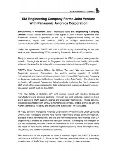 Sia Engineering Company Forms Joint Venture With Panasonic