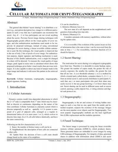 CELLULAR AUTOMATA FOR CRYPT-STEGANOGRAPHY - ijater