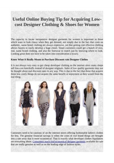 Useful Online Buying Tip For Acquiring Low Cost Designer Clothing Shoes For Women Pdf