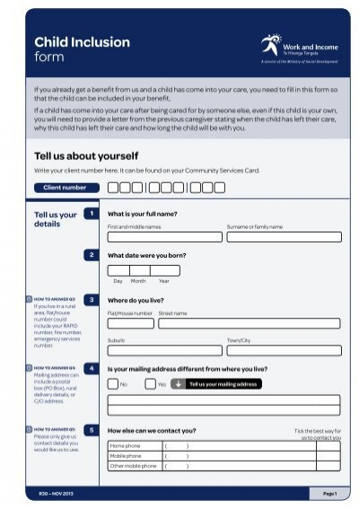 Child Inclusion Form  Work And Income