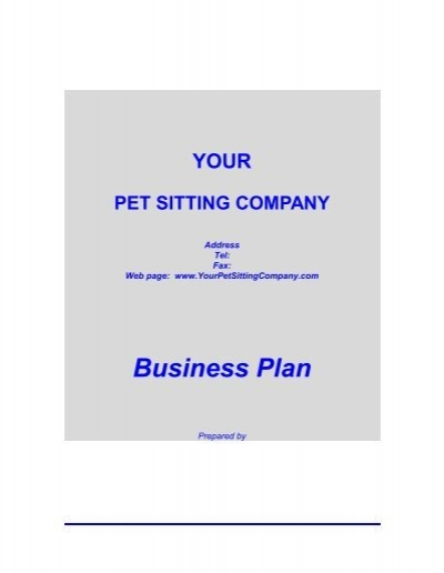 pet business plan