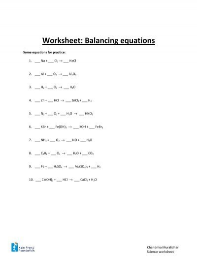 Balancing Equations  Worksheet  Avon Chemistry