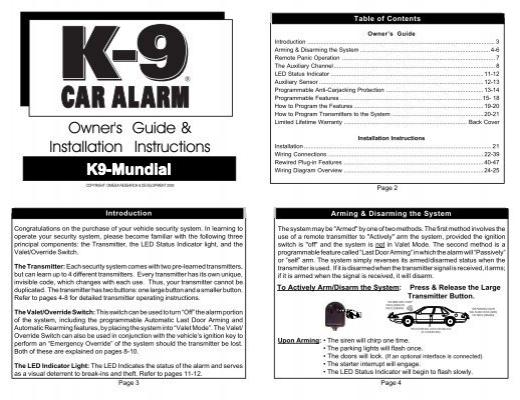 owner s guide installation instructions k9 mundial car alarms rh yumpu com k9 mundial 5 manual k9 mundial 4 manual pdf