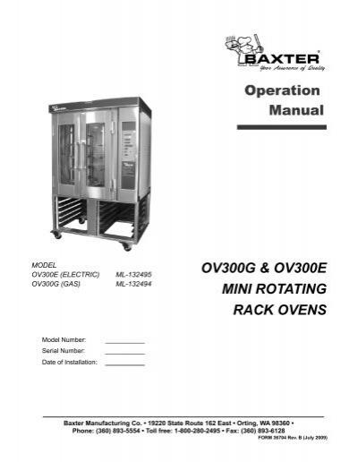 OV300G & OV300E MINI ROTATING RACK OVENS - Hobart   Baxter Oven Wiring Schematic Oven      Yumpu