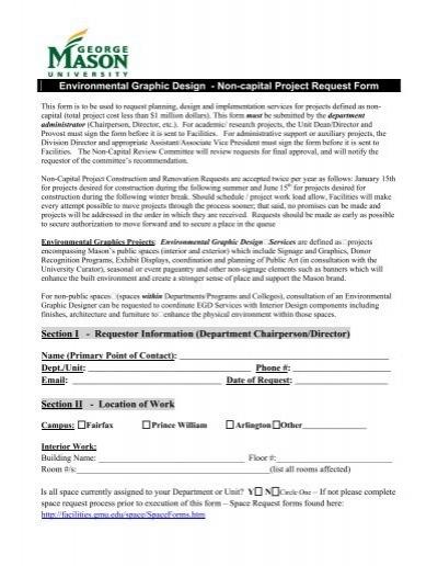 Interior Design Noncapital Project Request Form Facilities – Project Request Form
