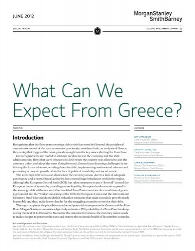 What Can We Expect From Greece Morgan Stanley Smith Barney