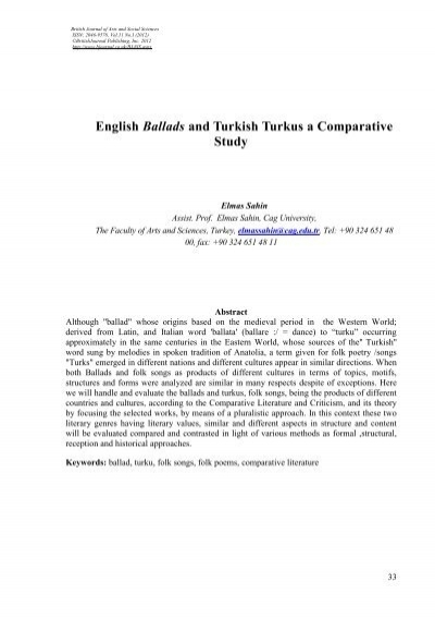 english ballads and turkish turkus a