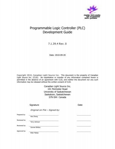 Programmable Logic Controller (PLC ...   Canadian Light Source