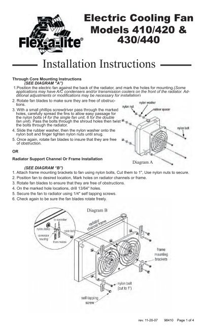 flexalite cooling systems installation instructions