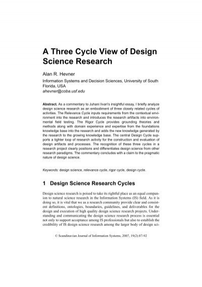 The Three Cycle View Of Design Science Research Temple Fox Mis