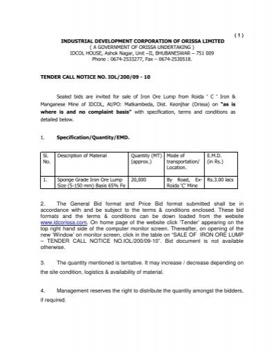 2 the general bid format and price bid format submitted tender